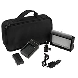Polaroid 144 Ultra High Powered Super Bright LED Camera / Camcorder Video Light With Variable Color Temp. (3200K-5600K) & Dimmable Brightness Control Knobs (Includes Battery, Charger, Filter, Carry Case)