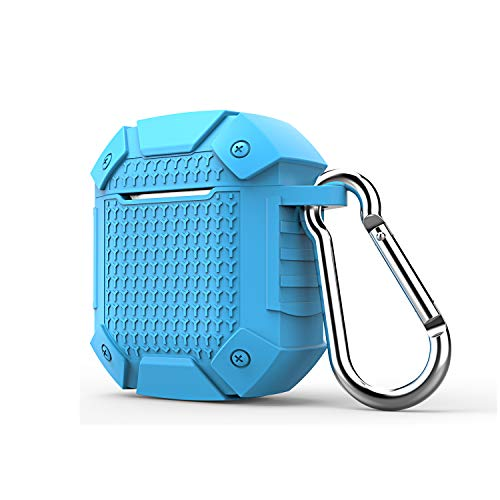 Rugged Case for Airpods Case, Solomo Luxury Heavy Duty Armor Defender Shockproof Protective Silicone Cover and Anti Slip Skin with Keychain Carrying for Apple Airpods 1/2 Case (Not Wireless) (Blue)