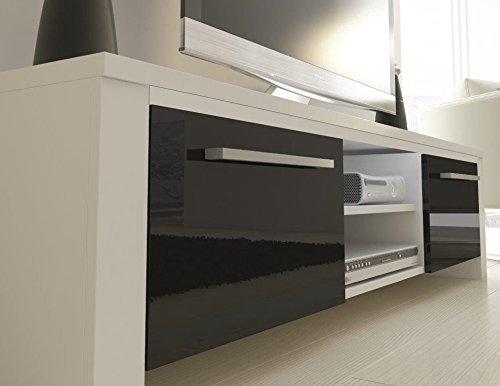 TV Schrank Lowboard Sideboard Orlando weiß matt / glänzend schwarz  ohne LED