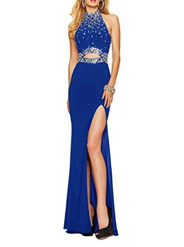 Women's Lang Schwarz Blue Formelle Meerjungfrau Kleides Sexy Abendkleider Ballkleid Kleid Royal Backless Fanciest S4xdqUw4
