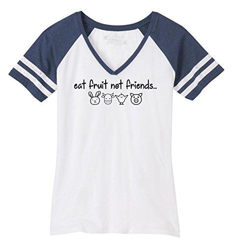 Friend Womens V-neck T-shirt - Comical Shirt Ladies Game V-Neck Tee Eat Fruit Not Friends Cute Vegan Tee White/Heathered Navy M