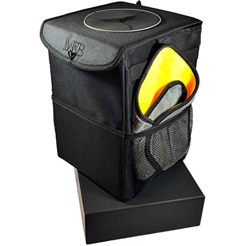 Car Trash Can - The Luxury Edition. Premium Construction Materials, Watertight Liner & Storage Pockets. Includes Microfibre Cleaning Cloth & 30 Pack Disposable Liners. A Must Have In Your Vehicle