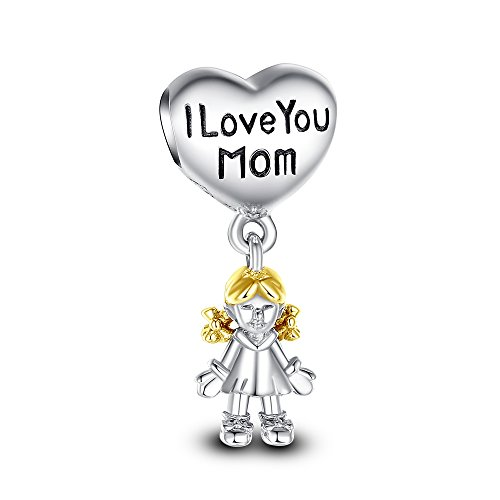 Glamulet Art - I Love You Mom Charm -- 925 Sterling Silver