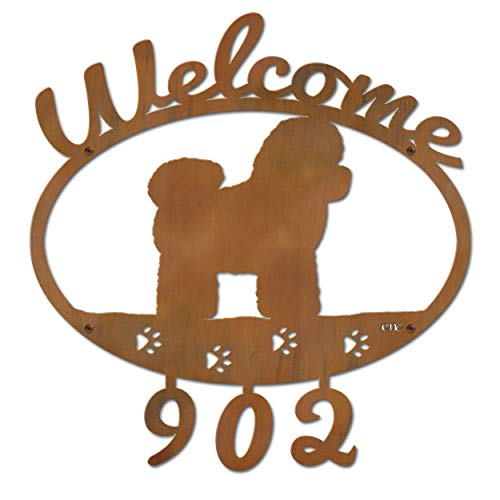 Cold Nose Creations 22in Bichons Frise Dog Metal Custom Personalized Welcome Address Numbers Sign (Frise Welcome Sign Bichon)