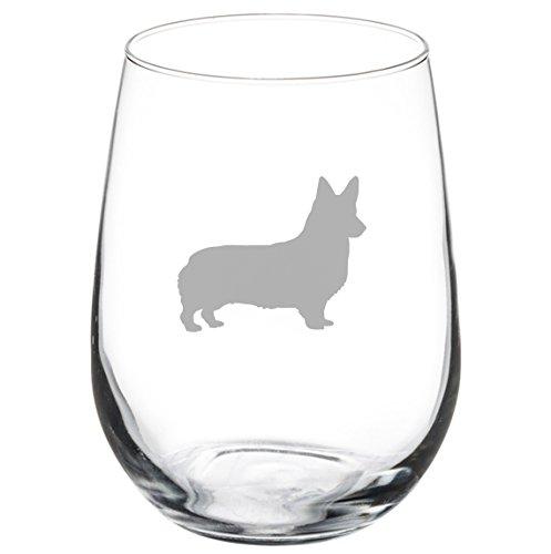 17 oz Stemless Wine Glass Corgi