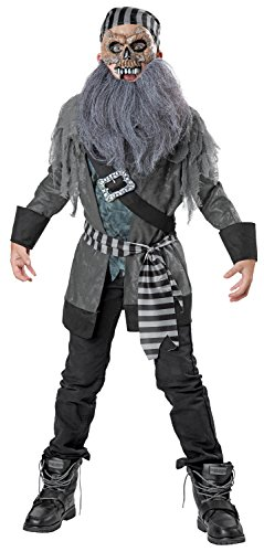 Ghost Pirate Costume, Small (Blackbeard Costume Beard)