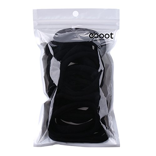 EBoot 20 Pieces Large Cotton Stretch Hair Ties Bands Rope Ponytail Holders Headband For Thick Heavy And Curly Hair Black