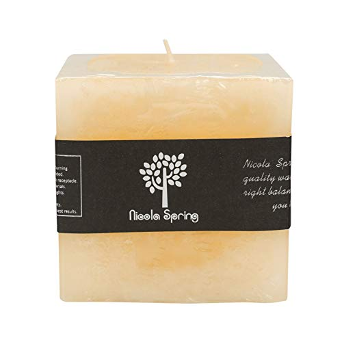 (Nicola Spring Vanilla Scented Single Wick Square Candle 100x100x100mm. 120hrs Burning Time)