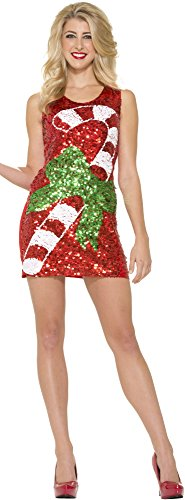 Forum Novelties Women's Sequin Candy Cane Dress, Multi, Medium/Large