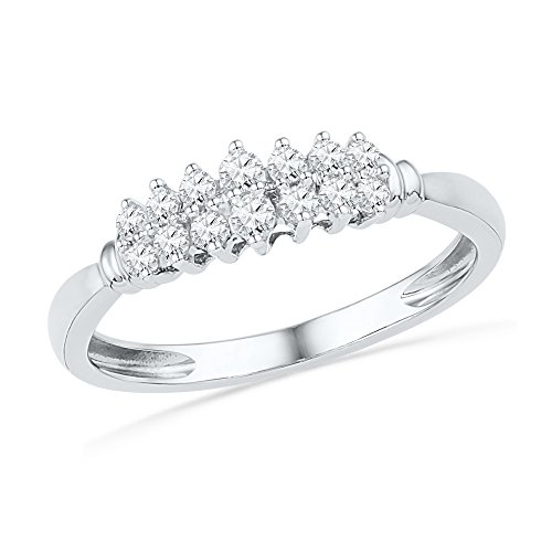 Round Diamond Fashion Band Solid 10k White Gold Seven Stone Ring Two Ring Polished Finish Fancy 1/4 ctw ()