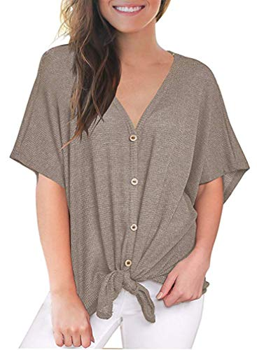 Summer Casual V Neck Short Sleeve Loose Fit T Shirts for Women Blouse Cute Baggy Tops Tunics (M, 04 Khaki)