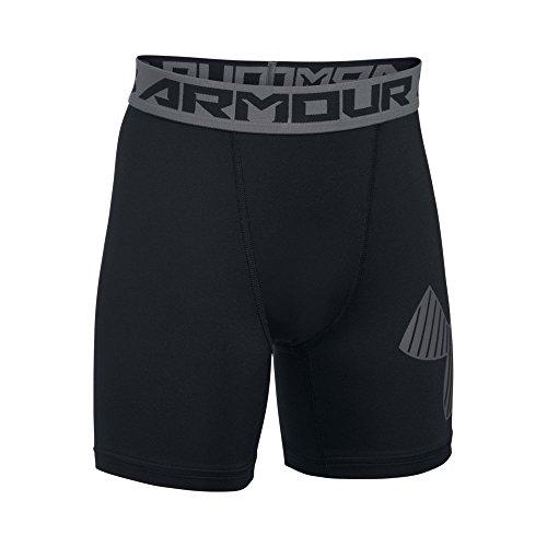 Under Armour Boys' HeatGear Armour Mid Shorts, Black /Graphite, Youth Medium ()