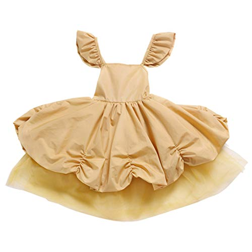 Lovygaga Fashion Toddler Baby Kids Girls Popular Classic Ruched Tulle Solid Color Gown Ball Party Princess Dress Yellow