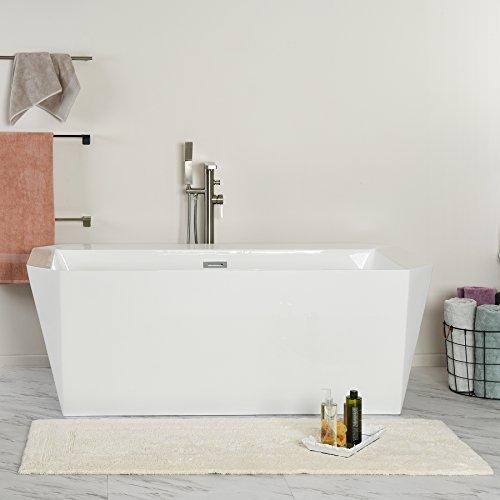 American Bath Factory Pedestal (MAYKKE Calabasas 67 Inches Modern Rectangle Acrylic Bathtub Freestanding White Tub in Bathroom cUPC certified, XDA1435001)