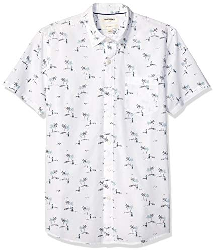 Goodthreads Men's Slim-Fit Short-Sleeve Printed Poplin Shirt, White Aloha, X-Small ()
