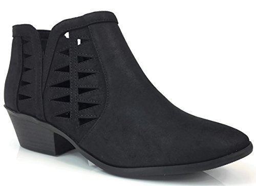 SODA Women's Perforated Cut Out Stacked Block Heel Ankle Boo