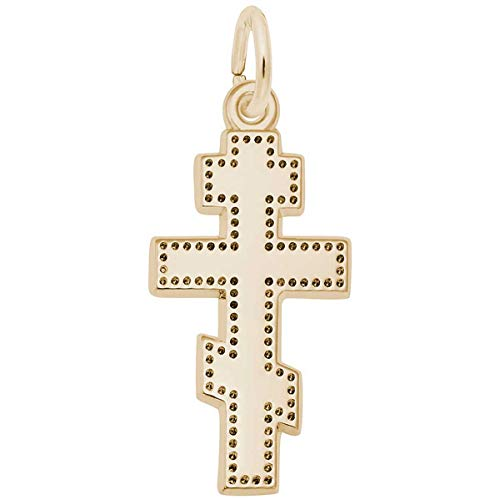 Rembrandt Charms Greek Cross Charm, Gold Plated Silver