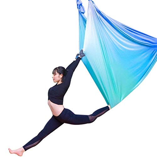 - ROLLYYD Aerial Flying Yoga Hammock Set - Yoga Swing/Fitness Inversion Pilates/Sling, Included 2 Extensions Straps (Color : C)