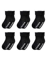 Unisex Baby Toddler Non Skid Socks with Grip Kids Stripes Cotton Anti Slip Socks 6 Pairs