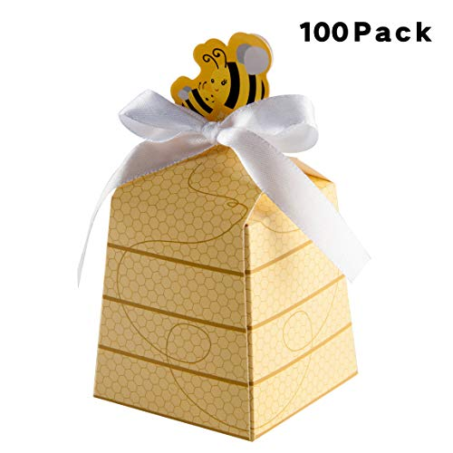 Thalia 100 PCS Bumble Bee Party Favor Boxes Treat Boxes for Bumble Bee Gender Reveal Birthday Baby Shower Favors Supplies