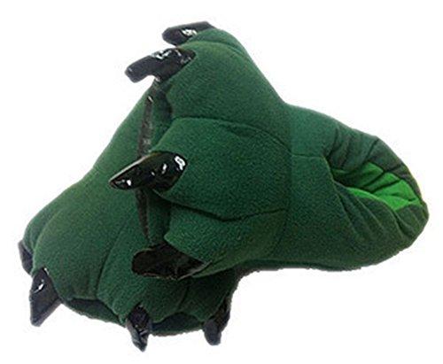 Idifu Mujeres Para Hombre Unisex Warm Soft Paw Animal Slippers Green