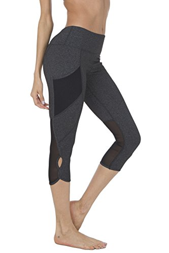 Cheap Queenie Ke Women 22″ Yoga Capris Power Flex Height Waist 3 Phone Pocket Running Pants Trousers Workout Tights Legging – Tummy Control Size S Color Dark Charcoal Space Dye