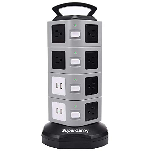 - Surge Protector Power Strip Tower - SUPERDANNY 3000W 13A with 4.2A 4 USB Slot 14 Outlets 16AWG 6.5ft Heavy Duty Cord Wire Extension Electric Charging Station Universal Socket for iPhone iPad PC Laptop