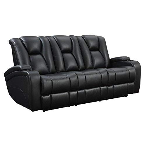 (Delange Reclining Power Sofa with Adjustable Headrests and Storage in Armrests Black)