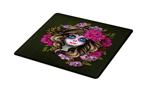 (Lunarable Makeup Cutting Board, Calavera Day of the Dead Mexican Sugar Skull Faced Woman with Floral Head Halloween, Decorative Tempered Glass Cutting and Serving Board, Large Size,)