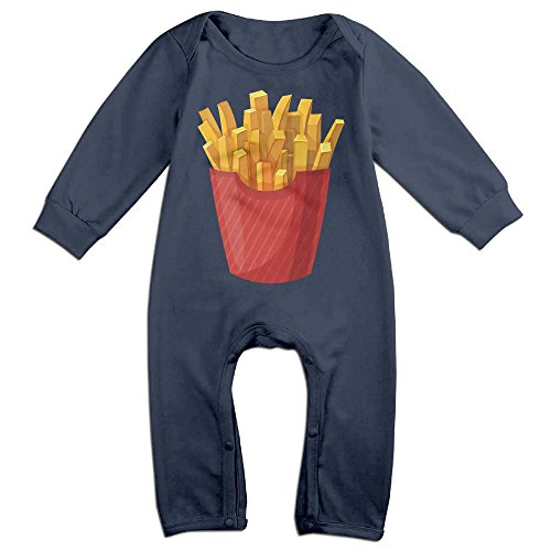 French Fry Halloween Costumes (Boy & Girl Infants French Fries Long Sleeve Climb Romper 24 Months Navy)