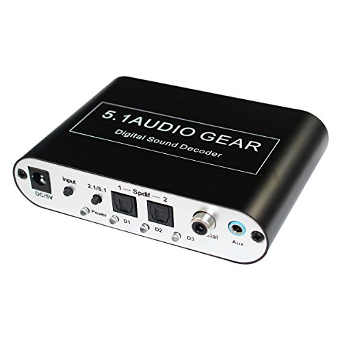 Digital 5.1 Audio Gear Digital Sound Decoder Converter Dolby Dts/ac-3 Optical To 5.1-Channel RCA Analog Sound Spdif Decoder Stereo with USB Port ()