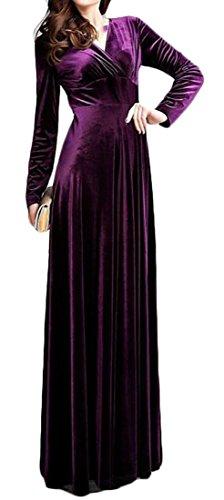 Cruiize Womens Manches Longues Élégante Solide Velours V-cou Longue Robe Violette