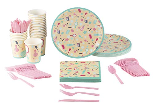 Disposable Dinnerware Set - Serves 24 - Spa Party Supplies for Kids Birthdays, Includes Plastic Knives, Spoons, Forks, Paper Plates, Napkins, Cups by Blue Panda