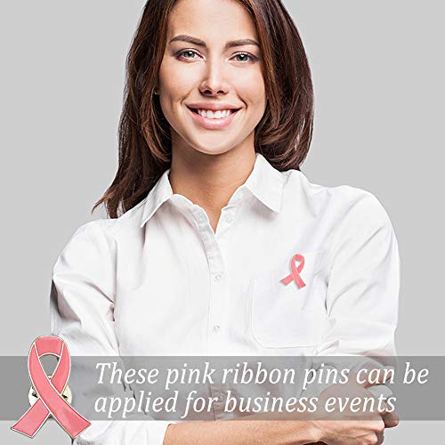 BigOtters Pink Ribbon Pins, 15PCS Breast Cancer Awareness Pink Hope Ribbon Lapel Pins for Charity Recognition, Public Event, Fundraiser, Survivor Campaign