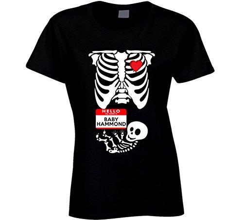 Baby Hammond Cute Halloween Custom Nametag Skeleton Costume T Shirt L Black