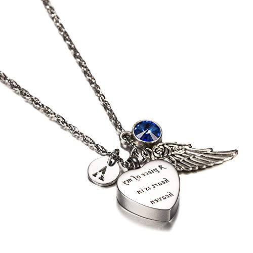 EoCot Stainless Steel Necklace for Women Men Heart with Birthstone, Angel Wings & 26 Letter Urn Necklace Hold Cremation Ashes Keepsake Memorial Jewelry September M