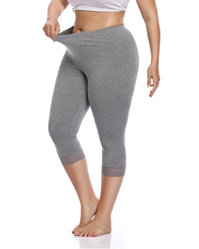 Women's Plus Size Lace Trim Soft Modal Cotton Leggings Workout Tights Pants Cropped Length (1X, Light - Cropped Cotton Tights