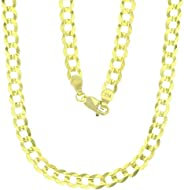14k Yellow Gold Solid 2mm-17mm Cuban Chain with Lobster Claw Clasp | Italian Gold Chain | Gold Curb Chain for
