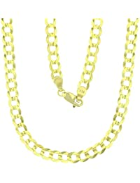 14k Yellow Gold Solid 2mm-17mm Cuban Chain with Lobster Claw Clasp | Italian Gold Chain | Gold Curb Chain for Men and Women