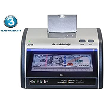 New AccuBANKER Cash + Card Counterfeit Detector LED430 Money Checker with Superbright LEDs Ultraviolet, Magnetic & Size Detection … (LED430)