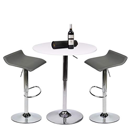 (PULUOMIS 35 Inches Height Pub Table Round White MDF Top, with 2 Grey Contemporary Chrome Air Lift Barstool Adjustable Swivel Stools )