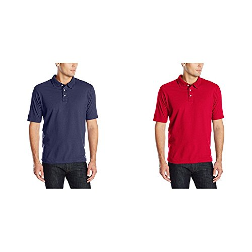 Hanes 2 Pack X-Temp Performance Polo Shirt, Navy/Deep Red, X-Large/X-Large