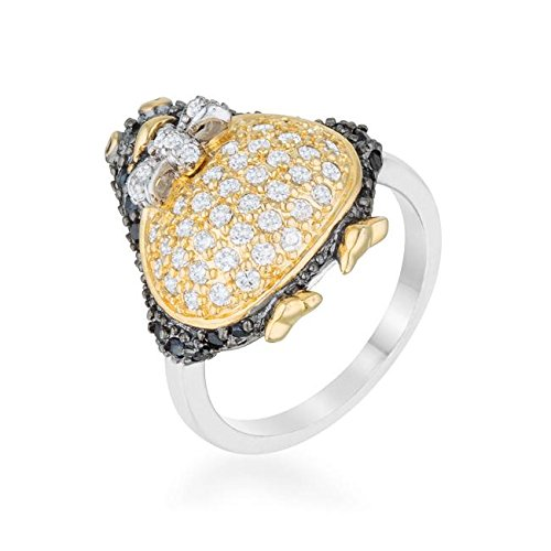 WildKlass Jet Black Cubic Zirconia Penguin Ring - 18k Gold Electroplated Mens Ring