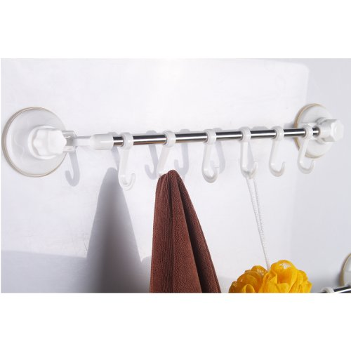 best A6062A Bathroom Stainless Steel Powerful Suction Cup Single Bar with Rail, White