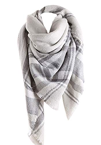 (Women Tartan Scarf Stole Plaid Blanket Checked Scarves Wraps Shawl(Plaids Grey Grey))