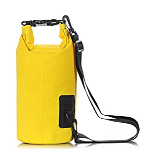 Aokon Waterproof Dry Bag, 10L Roll Top Waterproof Camera Bag Compression Gear Sack Backpack for Beach Kayaking, Swimming, Boating, Canoeing, Camping, Rafting, Fishing, Hiking (Yellow)