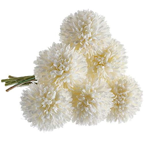 CQURE Artificial Flowers, Fake Flowers Silk Plastic Artificial Hydrangea 6 Heads Bridal Wedding Bouquet for Home Garden Party Wedding Decoration 6Pcs (White) (Flowers Artificial Tall)