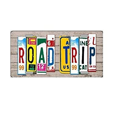 Road Trip License Plate Art Wood Pattern Novelty License Plate Tag Sign …: Everything Else