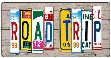 Road Trip License Plate Art Wood Pattern Novelty License Plate Tag Sign /…