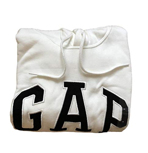 GAP Mens Fleece Arch Logo Pullover Hoodie (XX-Large, Bone White/Black)